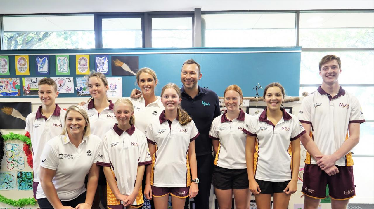Leisel Jones, Holly Lincoln Smith and Ian Thorpe at PLC Armidale Community Open Day
