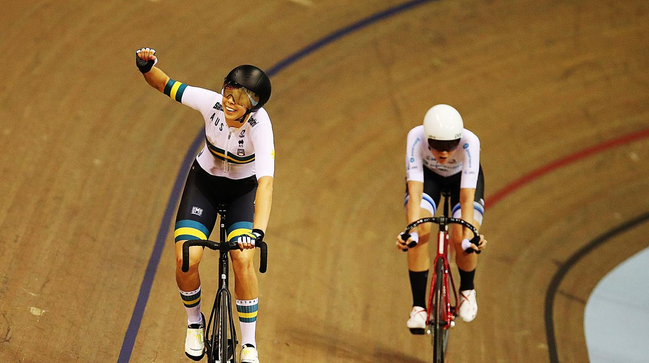 Georgia Baker of Australia celebrates after winning the Women's Madison with Annette Edmondson during Day Three of the UCI Track Cycling World Cup at Sir Chris Hoy Velodrome on November 10, 2019 in Glasgow, Scotland. (Photo by Ian MacNicol/Getty Images)