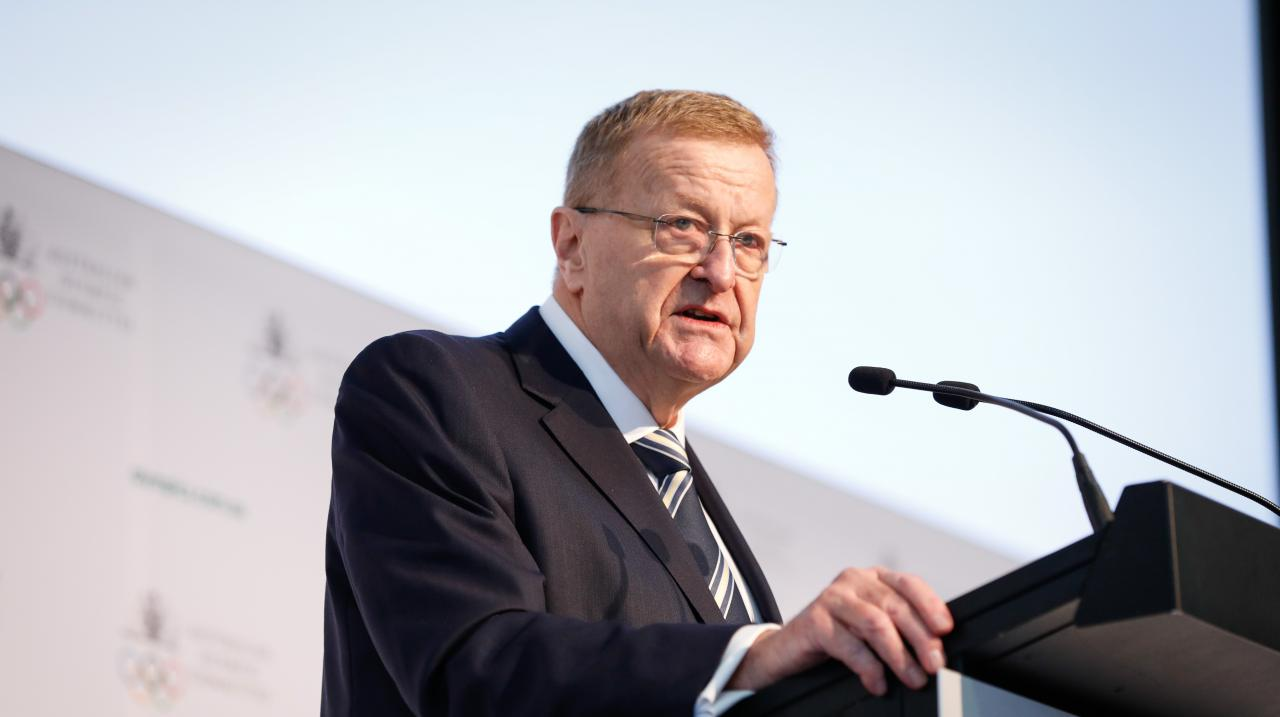 AOC President John Coates speaks during the Australian Olympic Committee Annual General Meeting at the Foundation Hall of the Museum of Contemporary Art on May 04, 2019 in Sydney, Australia. (Photo by Hanna Lassen/Getty Images)