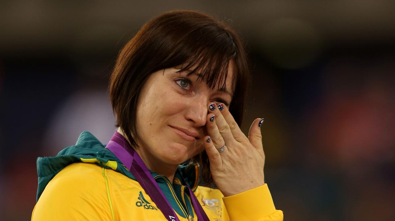 Gold medallist Anna Meares of Australia celebrates during the medal ceremony for the Women's Sprint Track Cycling Final on Day 11 of the London 2012 Olympic Games at Velodrome on August 7, 2012 in London, England. (Photo by Bryn Lennon/Getty Images)