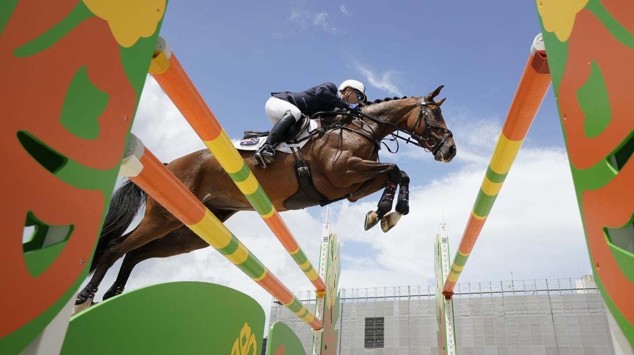 Andrew Hoy of Australia riding Bloom Des Hauts Crets competes in the Jumping during day three of the Equestrian Tokyo 2020 Test Event at the Equestrian Park on August 14, 2019 in Tokyo, Japan. (Photo by Toru Hanai/Getty Images)