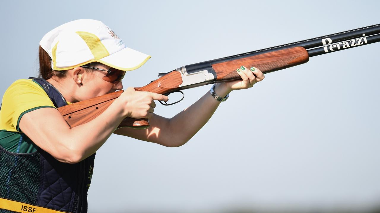 Laura Coles of Australia competes in the womens skeet qualifying at Barry Buddon Shooting Centre during day two of the Glasgow 2014 Commonwealth Games on July 25, 2014 in Carnoustie, United Kingdom. (Photo by Jeff J Mitchell/Getty Images)