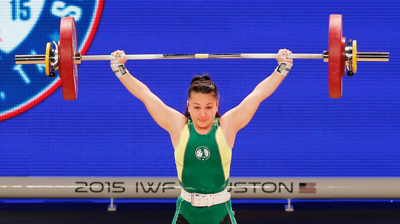 HOUSTON, TX - NOVEMBER 21: Erika Yamasaki of Australia competes in the women's 53kg weight class during the 2015 International Weightlifting Federation World Championships at the George R. Brown Convention Center on November 21, 2015 in Houston, Texas. (P