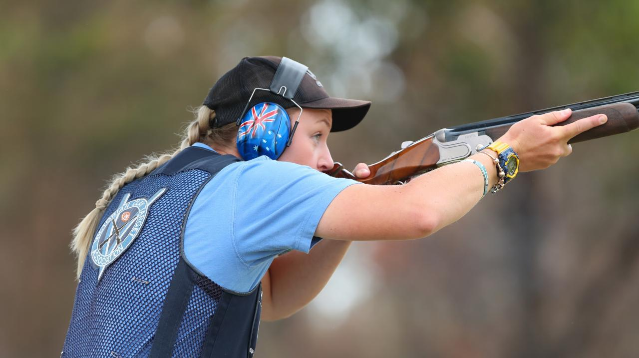 Penny Smith of Victoria competes in qualifying during the Trap and Skeet Shooting Commonwealth Championships at the Lake Macquarie Clay Target Club on January 18, 2020 in Newcastle, Australia. (Photo by Tony Feder/Getty Images)