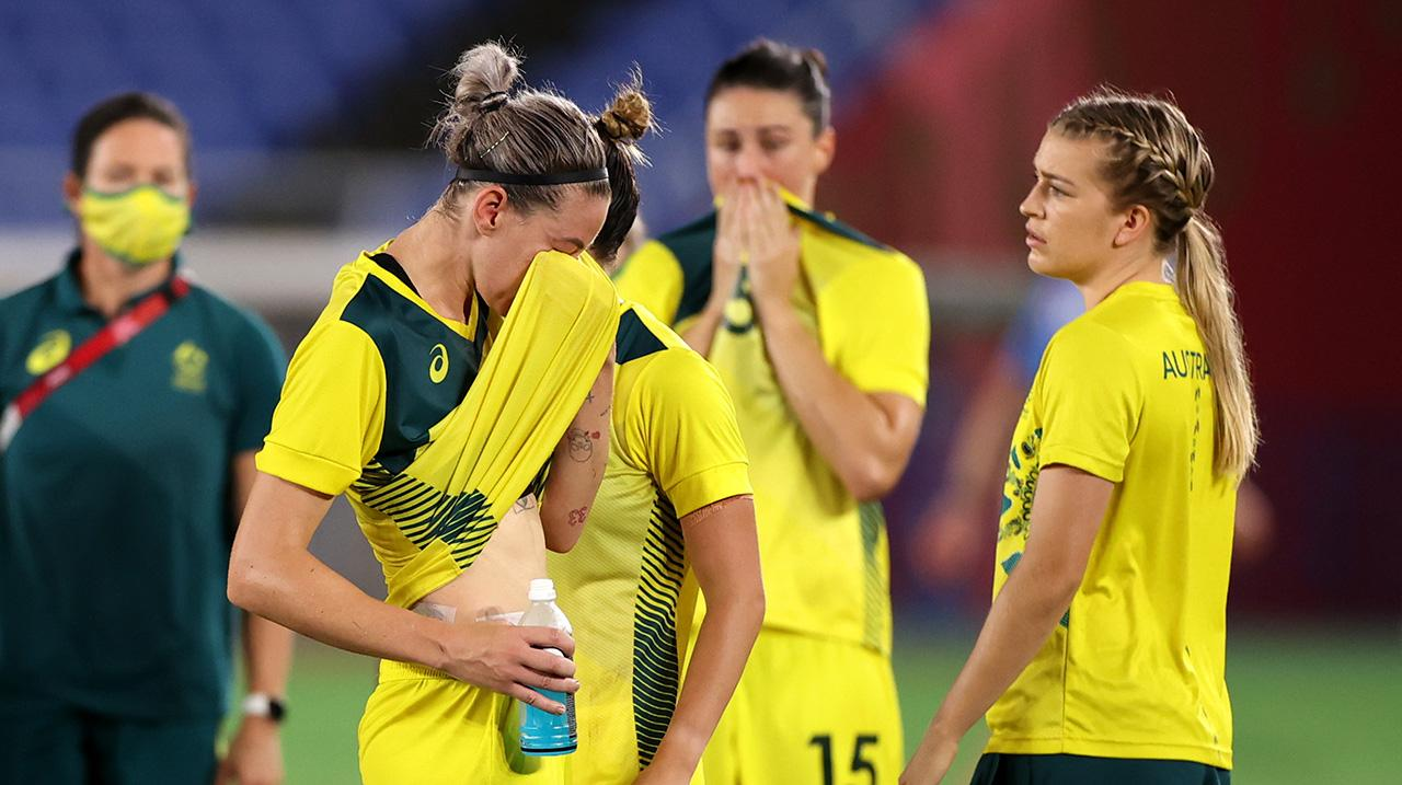 Alanna Kennedy #14 of Team Australia looks dejected following defeat in the Women's Semi-Final match between Australia and Sweden on day ten of the Tokyo 2020 Olympic Games
