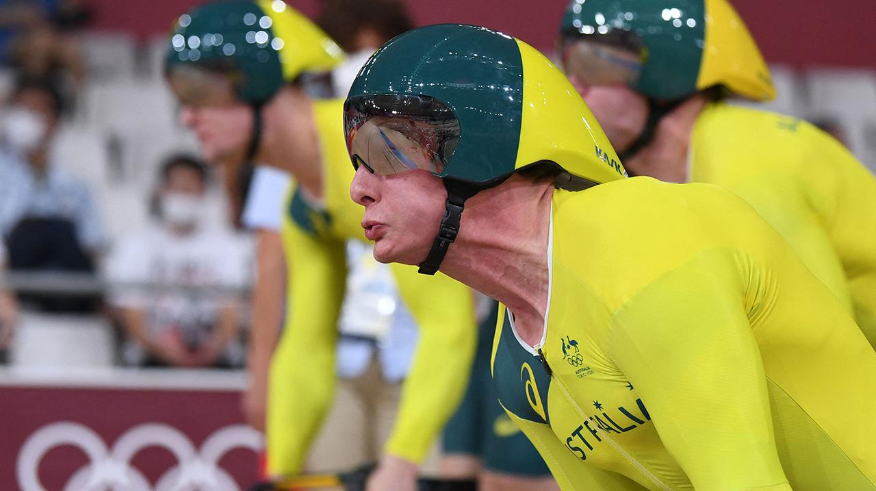 Australia's Alexander Porter at the start of the men's track cycling team sprint qualifying event during the Tokyo 2020 Olympic Games at Izu Velodrome in Izu, Japan