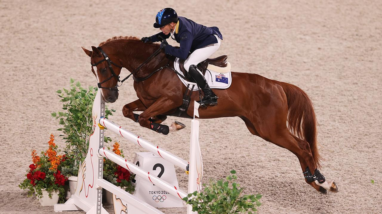 Andrew Hoy riding Vassily de Lassos during the Eventing Individual jumping final.