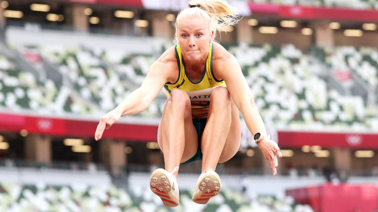 Brooke Stratton in long jump qualifying at Tokyo 2020