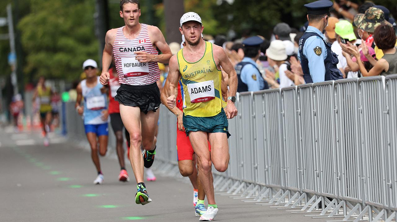 Liam Adams (R) and Canada's Trevor Hofbauer compete in the men's marathon final during the Tokyo 2020 Olympic Games