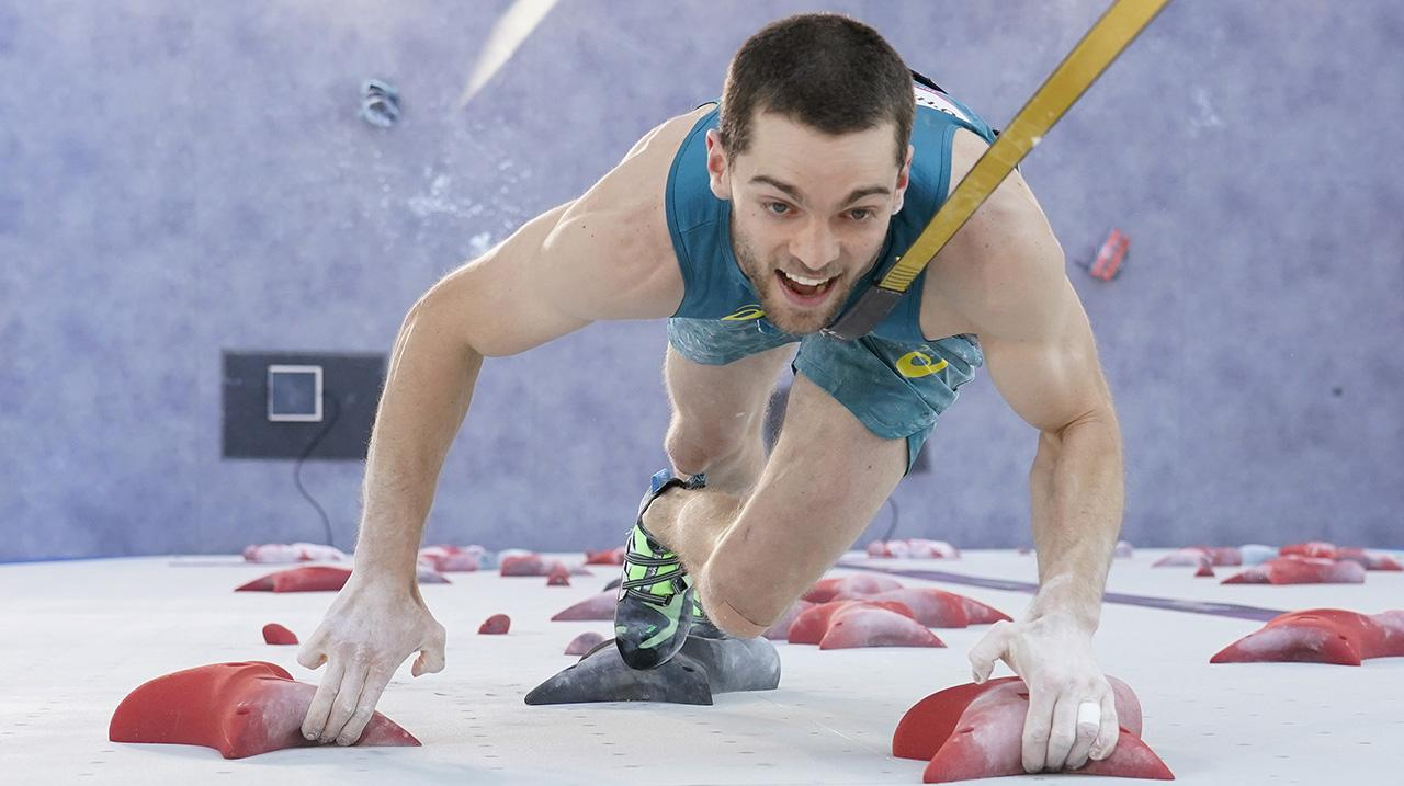 Tom O'Halloran of Australia during the Sport Climbing Men's Combined, Speed Qualification on day eleven of the Tokyo 2020 Olympic Games at Aomi Urban Sports Park on August 03
